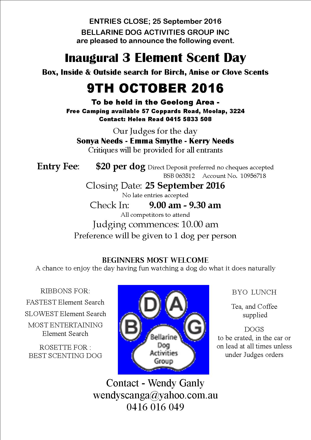 Inagural 3 Element Scent Day Geelong area 9th October 2016 from 9am